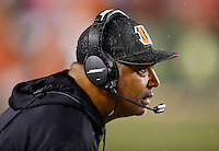 Head coach Marvin Lewis of the Cincinnati Bengals looks on against the Pittsburgh Steelers during the Wild Card playoff game at Paul Brown Stadium on January 9, 2016 in Cincinnati, Ohio. (Photo by Jared Wickerham/DKPittsburghSports)