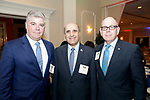 Waterbury, CT- 21 March 2017-032117CM10-  SOCIAL MOMENTS---  From left, Michael Liam O'Connor, with Webster Bank, Selim Noujaim, with Noujaim Tool Co., Inc and Tim Bergstrom of Webster Bank,  during The Children's Community School Board of Directors Annual Awards Dinner at La Bella Vista in Waterbury on Tuesday.   Christopher Massa Republican-American
