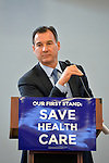 "Westbury, New York, USA. January 15, 2017.  Rep. THOMAS SUOZZI  (Democrat - 3rd Congressional District) speaks at the ""Our First Stand"" Rally against Republicans repealing the Affordable Care Act, ACA, taking millions of people off health insurance, making massive cuts to Medicaid, and defunding Planned Parenthood. Hosts were Reps. K. Rice (Democrat - 4th Congressional District) and Suozzi. It was one of dozens of Bernie Sanders' rallies nationwide for health care that Sunday."