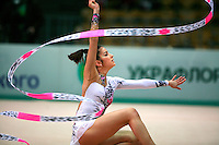 """Nuria Artigues of Spain waves with ribbon at 2008 World Cup Kiev, """"Deriugina Cup"""" in Kiev, Ukraine on March 22, 2008."""