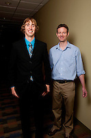 UWRF McNair Scholar, Michael Woodward, left, <br /> Secondary Education, College of  Education &amp; Professional Studies; and Psychology, College of Arts and Sciences with faculty mentor, Todd Wilkinson, right.
