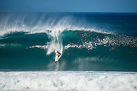 PIPELINE, Oahu/Hawaii (Saturday, December 14, 2013) Jeremy Flores (FRA). - Kelly Slater (USA), 41, has won his 7th Billabong Pipe Masters in Memory of Andy Irons after a day of incredible 10-to-15 foot (three to four metre) waves at Pipeline today. Slater defeated John John Florence (HAW), 21, in a hard-fought, 35-minute Final that ended with less than half-a-point separating the two. The runner-up finish for Florence saw him crowned 2013 Vans Triple Crown of Surfing champion.<br /> <br /> The final day of the Billabong Pipe Masters capped off the 2013 ASP World Championship Tour (WCT) season in fine style, with epic conditions providing the ideal backdrop for the crowning of Mick Fanning (AUS), 32, as the ASP World Champion. It also finalized the ASP Top 34 roster for 2014. Fanning finished third overall, defeated by Florence in their Semifinal.<br /> With tens of thousands packing the beach at Pipeline, and the gravitas of Slater&rsquo;s 56th elite tour victory apparent, the greatest athlete the sport has ever produced was emotional on the final day of 2013.<br /> <br /> Fanning&rsquo;s road to the 2013 ASP World Title was nothing short of spectacular on the final day of competition. Finding himself behind during both his Round 5 and Quarterfinals bouts, the iron-nerved Australian nailed huge Pipeline scores in both occasions to take the heat wins and his third world surfing crown.<br /> <br /> &ldquo;I&rsquo;ve never put myself in the same circles as Tom Curren and Andy Irons,&rdquo; Fanning said. &ldquo;Tom (Curren) is such an enigma and was so instrumental to injecting style into our sport. Andy (Irons)&hellip;what hasn&rsquo;t been said about Andy? He was such a legend and he was such a good friend. I&rsquo;m honored to be a part of this group. I was happy with one title and I was overwhelmed with two. With three? I don&rsquo;t have words for that.&rdquo;<br /> <br /> Today marked John John Florence&rsquo;s second Vans Triple Crown Title, but his runner-up in 