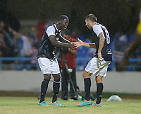 Antigua and Barbuda, Friday, Oct 12, 2012: The USA Men's National Team 2-1 over Antigua and Barbuda in the first round of qualifying for the 2014 World Cup. Eddie Johnson celebrates his goal with Clint Dempsey.