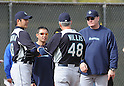 Hisashi Iwakuma (Mariners).FEBRUARY 13, 2012 - MLB : Seattle Mariners pitcher Hisashi Iwakuma (#18) of Japan talks with pitching coach Carl Willis (#48) and manager Eric Wedge (R) in the bullpen during team's spring training baseball camp in Peoria, Arizona..(Photo by AFLO)