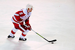 21 November 2009: Detroit Red Wings' defenseman and Team Captain Nicklas Lidstrom leads a rush up ice against the Montreal Canadiens at the Bell Centre in Montreal, Quebec, Canada. The Canadiens, wearing their original 1909-10 throwback jerseys, dropped the game to the Red Wings in a shootout 3-2 in their Original Six matchup. Mandatory Credit: Ed Wolfstein Photo