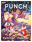 Punch Summer Number 1937 front cover (Mr Punch takes a break from bringing in the harvest with dog Toby)