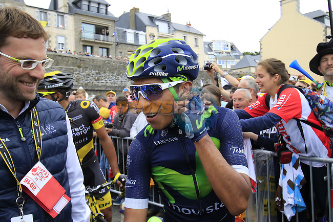 Nairo Quintana (COL) Movistar Team at sign on before the start of Stage 3 of the 2016 Tour de France, running 223.5km from Granville to Angers, France . 4th July 2016.<br /> Picture: Eoin Clarke | Newsfile<br /> <br /> <br /> All photos usage must carry mandatory copyright credit (&copy; Newsfile | Eoin Clarke)