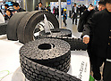 December 16, 2011, Tokyo, Japan - Retread tires are shown at Eco-Products 2011 opened in Tokyo on Friday, December 16, 2011...The exhibition was one of the largest environmental exhibitions in Japan, showcasing innovative technologies and solutions for business. The three-day trade show drew more than 180,000 business people and consumers interested in environmental issues. (Photo by Natsuki Sakai/AFLO) [3615] -mis-