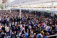 Milano 02  Maggio 2015 <br /> EXPO Milano 2015 Nutrire il pianeta -Energia per la vita<br /> Prima giorno di apertura al pubblico. La folla in fila per i controlli al metal detector<br /> Milan 2 may 2015<br /> EXPO Milano 2015 Feeding the planet -Energy for life<br /> First day of opening to the public. The crowd in line for the metal detector checks
