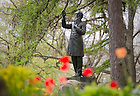 May 5, 2011; Statue of Rev. William Corby, C.S.C. in front of Corby Hall..Photo by Matt Cashore/University of Notre Dame