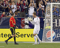 Columbus Crew goalkeeper William Hesmer (1) pleads with Paul Ward about penalty kick call. The New England Revolution tied Columbus Crew, 2-2, at Gillette Stadium on September 25, 2010.