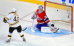 22 November 2008: Montreal Canadiens' goaltender Carey Price gives up a goal during the third period against the Boston Bruins at the Bell Centre in Montreal, Quebec, Canada.  After a 2-2 regulation tie and a non-scoring 5-minute overtime period, the Boston Bruins scored the lone shootout goal thus defeating the Canadiens 3-2. The Canadiens, celebrating their 100th season, honored former Montreal goaltender Patrick Roy, and retired his jersey (Number 33) during pre-game ceremonies. ***** Editorial Use Only *****..Mandatory Photo Credit: Ed Wolfstein Photo *** Editorial Sales through Icon Sports Media *** www.iconsportsmedia.com