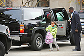 Chicago, IL - November 13, 2008 -- Sasha and Malia Obama, daughters of United States President-elect Barack Obama, are dropped off at school while their dad waits in the car in Chicago, Illinois on Thursday, November 13, 2008.  Obama is working mostly in the Chicago area as he prepares for his transition to become the 44th United States President. .Credit: Amanda Rivkin - Pool via CNP