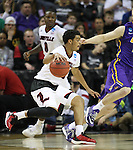 Louisville's Quentin Snider dribbles against Northern Iowa State during the 2015 NCAA Division I Men's Basketball Championship's March 22, 2015 at the Key Arena in Seattle, Washington.  Louisville beat Northern Iowa State 66-53 to advance to the Sweet 16.  ©2015. Jim Bryant Photo. ALL RIGHTS RESERVED.