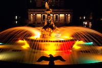 Victoria, BC, Vancouver Island, British Columbia, Canada - Fountain at Rear of BC Parliament Buildings illuminated at Night
