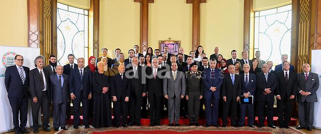 Egyptian President Abdel Fattah al-Sisi meets with representatives of Egyptian society in Cairo, Egypt, on April 13, 2016. Photo by Egyptian President Office