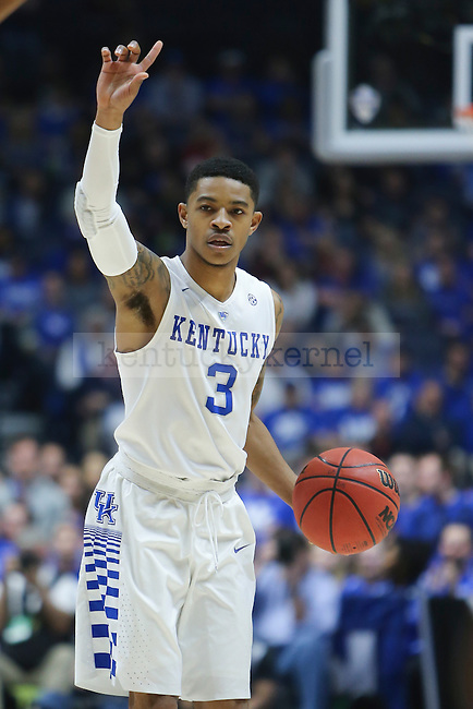 Guard Tyler UIis of the Kentucky Wildcats commands his team during the game against the Georgia Bulldogs at the SEC Tournament at Bridgestone Arena in Nashville, TN, on Saturday, March 12, 2016. Kentucky defeated Georgia 93-80 to advance to the SEC Championship game tomorrow against the Texas A&M Aggies. Photo by Michael Reaves | Staff.