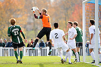 Monmouth Hawks goalkeeper Bryan Meredith (1) gras a ball. Dartmouth defeated Monmouth 4-0 during the first round of the 2010 NCAA Division 1 Men's Soccer Championship on the Great Lawn of Monmouth University in West Long Branch, NJ, on November 18, 2010.