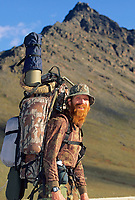 Red Returns from successful dall sheep hunt in the Brooks mountain range, Alaska