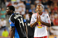 Thierry Henry (14) of the New York Red Bulls talks with Brandon McDonald (14) of the San Jose Earthquakes. The New York Red Bulls defeated the San Jose Earthquakes 2-0 during a Major League Soccer (MLS) match at Red Bull Arena in Harrison, NJ, on August 28, 2010.