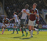 Burnley's Michael Keane reacts after seeing his header just clear the bar<br /> <br /> Photographer Stephen White/CameraSport<br /> <br /> The Premier League - Burnley v Manchester United - Sunday 23rd April 2017 - Turf Moor - Burnley<br /> <br /> World Copyright &copy; 2017 CameraSport. All rights reserved. 43 Linden Ave. Countesthorpe. Leicester. England. LE8 5PG - Tel: +44 (0) 116 277 4147 - admin@camerasport.com - www.camerasport.com