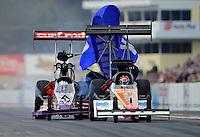 Oct. 6, 2012; Mohnton, PA, USA: NHRA top fuel dragster driver Rit Pustari (left)  crosses the centerline and heads towards Clay Millican during qualifying for the Auto Plus Nationals at Maple Grove Raceway. Mandatory Credit: Mark J. Rebilas-