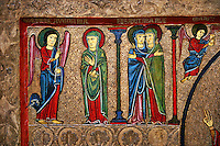 Romanesque Altar Front of Cardet<br /> <br /> Thirteenth century paint and metal relief on wood from a church of Santa Maria of Cardet, Vall de Boi, Alta Ribagorca, Spain<br /> <br /> Acquired by the National Art Museum of Catalonia, Barcelona 1932. Ref: MNAC 3903.<br /> <br /> <br /> This Romanesque painted altar front is dedicated to the Nativity. Top left shows the Annunciation of the Virgin Mary.