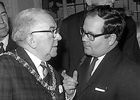 Alderman William Geddis, Lord Mayor of Belfast, chatting with Cecil McCausland, chief photographer, Belfast Newsletter, N Ireland. 196812310282..Copyright Image from Victor Patterson, 54 Dorchester Park, Belfast, United Kingdom, UK.  Tel: +44 28 90661296; Mobile: +44 7802 353836; Voicemail: +44 20 88167153;  Email1: victorpatterson@me.com; Email2: victor@victorpatterson.com..For my Terms and Conditions of Use go to http://www.victorpatterson.com/Terms_%26_Conditions.html