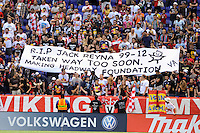 New York Red Bulls fans hold up a banner in honor of the late son of Claudio Reyna, Jack Reyna. The New York Red Bulls defeated the Philadelphia Union 2-0 during a Major League Soccer (MLS) match at Red Bull Arena in Harrison, NJ, on July 21, 2012.