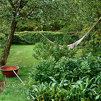 A hammock hangs between a pair of apple trees in this English country garden