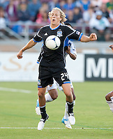 Stanford, California - Saturday June 30, 2012: Steven Lenhart controls the ball during a game at Stanford Stadium, Stanford, Ca.San Jose Earthquakes defeated Los Angeles Galaxy,  4 to 3