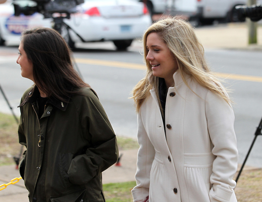 CHARLOTTESVILLE, VA - FEBRUARY 17:  Caroline Wattenmaker, left, and Kate Kamber, right, both testified they were at George Huguely's apartment when Yeardley Love argued and hit  Huguely over the head with her purse a week prior to her murder. Huguely was charged in the May 2010 death of his girlfriend Yeardley Love. She was a member of the Virginia women's lacrosse team. Huguely pleaded not guilty to first-degree murder. (Credit Image: © Andrew Shurtleff
