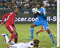 CARSON, CA – July 9, 2011: Chicago Fire goalie Sean Johnson (25)  during the match between LA Galaxy and Chicago Fire at the Home Depot Center in Carson, California. Final score LA Galaxy 2, Chicago Fire FC 1.