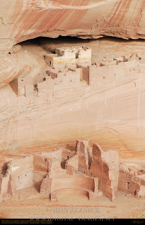 White House Ruins and Petroglyphs, Canyon de Chelly from White House Overlook, Anasazi Hisatsinom Cliff Dwellings, Canyon de Chelly National Monument, Navajo Nation, Chinle, Arizona