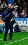 Levante's head coach Juan Ignacio Martinez gives instructions to his players during the Spanish league football match Levante UD vs FC Barcelona on April 14, 2012 at the Ciudad de Valencia Stadium in Valencia. (Photo by Xaume Olleros/Action Plus)