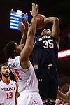 02 January 2016: Notre Dame's Bonzie Colson (35) shoots over Virginia's Isaiah Wilkins (21). The University of Virginia Cavaliers hosted the University of Notre Dame Fighting Irish at the John Paul Jones Arena in Charlottesville, Virginia in a 2015-16 NCAA Division I Men's Basketball game. Virginia won the game 77-66.