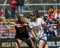 Newton, Massachusetts - April 16, 2016: NCAA Division I. Boston College (white) defeated Virginia Tech (maroon), 15-10, at Newton Campus Field.