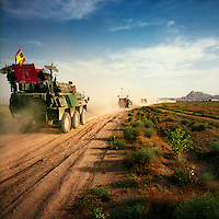 A military convoy including Spanish ISAF soldiers on patrol in Herat Province. ISAF (the International Security Assistance Force) is a peacekeeping mission affiliated to the United Nations (UN) and NATO.