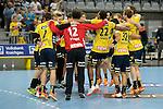 GER - Mannheim, Germany, September 23: Players of Rhein-Neckar Loewen celebrate after winning the DKB Handball Bundesliga match between Rhein-Neckar Loewen (yellow) and TVB 1898 Stuttgart (white) on September 23, 2015 at SAP Arena in Mannheim, Germany. Final score 31-20 (19-8) . <br /> <br /> Foto &copy; PIX-Sportfotos *** Foto ist honorarpflichtig! *** Auf Anfrage in hoeherer Qualitaet/Aufloesung. Belegexemplar erbeten. Veroeffentlichung ausschliesslich fuer journalistisch-publizistische Zwecke. For editorial use only.