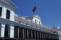 The Presidential Palace or Palacio de Gobierno on the Plaza de la Independencia in old Quito, Ecuador. Old Quito was made a UNESCO World Heritage Site in 1978.