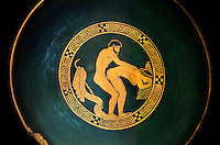 Greek Attica pottery plate with erotic depiction of a man and women, 5th century BC, Secret Museum or Secret Cabinet, Naples National Archaeological Museum , black background