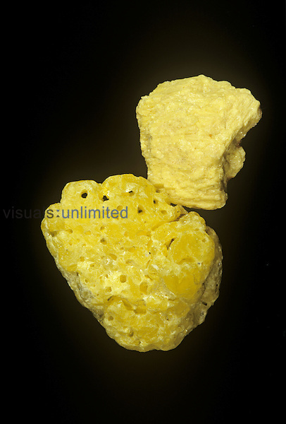 Two forms of Sulfur from Utah, USA. The bottom specimen changed shape after being warmed while being held in the hand.