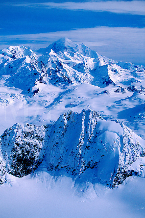 Alaskan landscape of the snow-covered Fairweather Mountains. Glacier Bay National Park, Alaska.<br />