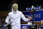 DURHAM, NC - FEBRUARY 26: Notre Dame's Ariel Simmons during the Men's Epee championship match. The Atlantic Coast Conference Fencing Championships were held on February, 26, 2017, at Cameron Indoor Stadium in Durham, NC.
