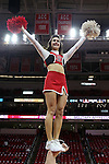 25 January 2015: NC State cheerleader. The North Carolina State University Wolfpack played the University of Notre Dame Fighting Irish in an NCAA Division I Men's basketball game at the PNC Arena in Raleigh, North Carolina. Notre Dame won the game 81-78 in overtime.