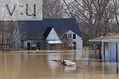 Residential area flooded by Ohio River. Utica, Indiana