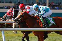 HALLANDALE BEACH, FL - FEBRUARY 04: Kitten's Cat (red and white silks) with jockey Luis Saez riding gets to the wire before Clyde's Image  in the Kittens Joy Stakes at Gulfstream Park. (Photo by Arron Haggart/Eclipse Sportswire/Getty Images