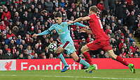 Burnley's Matthew Lowton drives into the Liverpool penalty area under pressure from Ragnar Klavan<br /> <br /> Photographer Rich Linley/CameraSport<br /> <br /> The Premier League - Liverpool v Burnley - Sunday 12 March 2017 - Anfield - Liverpool<br /> <br /> World Copyright &copy; 2017 CameraSport. All rights reserved. 43 Linden Ave. Countesthorpe. Leicester. England. LE8 5PG - Tel: +44 (0) 116 277 4147 - admin@camerasport.com - www.camerasport.com