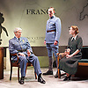 The Patriotic Traitor <br /> at Park Theatre, London, Great Britain <br /> press photocall <br /> 18th February 2016 <br /> <br /> Tom Conti as Philippe Petain<br /> <br /> Laurence Fox as Charles de Gaulle <br /> <br /> Ruth Gibson as Yvonne de Gaulle <br /> <br /> <br /> <br /> <br /> <br /> Photograph by Elliott Franks <br /> Image licensed to Elliott Franks Photography Services