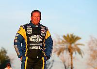 Feb 3, 2015; Chandler, AZ, USA; NHRA pro stock driver Allen Johnson during testing at Wild Horse Motorsports Park. Mandatory Credit: Mark J. Rebilas-USA TODAY Sports